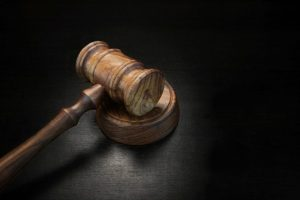 Gavel on black background
