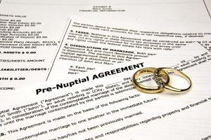 Prenuptial agreement with rings