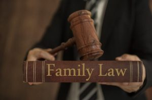 family law book with gavel